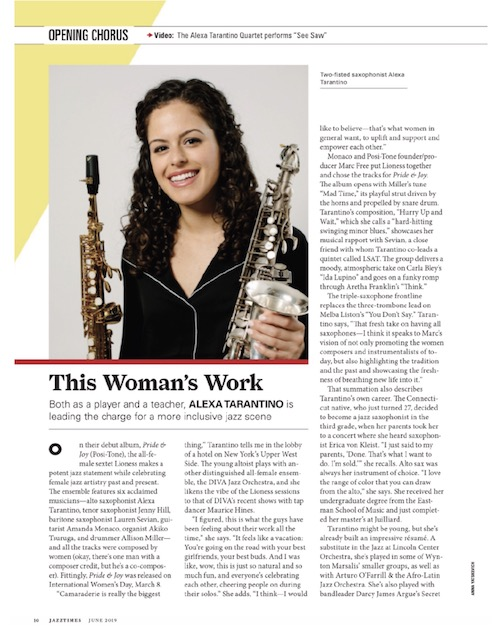 This Woman's Work article in Opening Chorus featuring Alexa